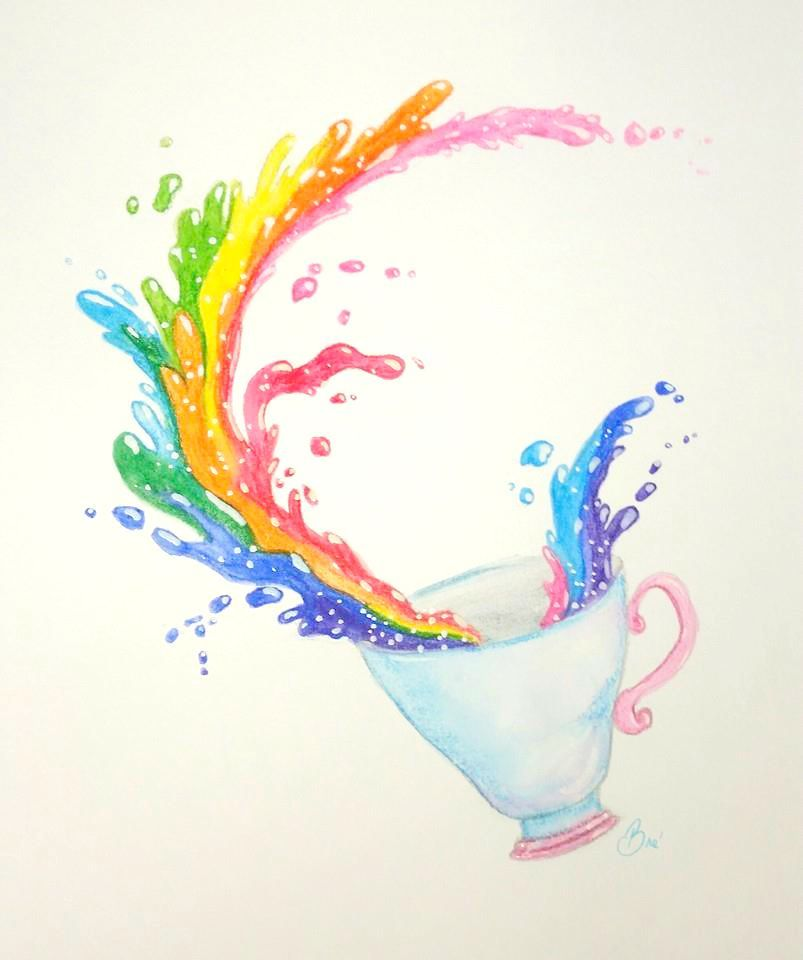 Prismacolor watercolor pencils review watercolor pencil drawing of a rainbow tea cup splash