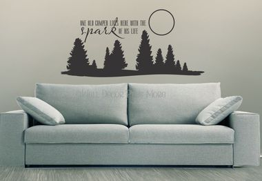 One old camper lives here with the spark of his life Vinyl Wall Decal Stickers