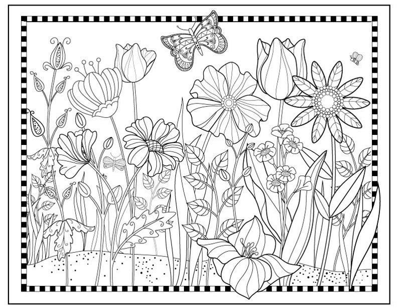 Printable Flower Garden Coloring Pageflowers To Color Etsy Garden Coloring Pages Gardens Coloring Book Flower Coloring Pages