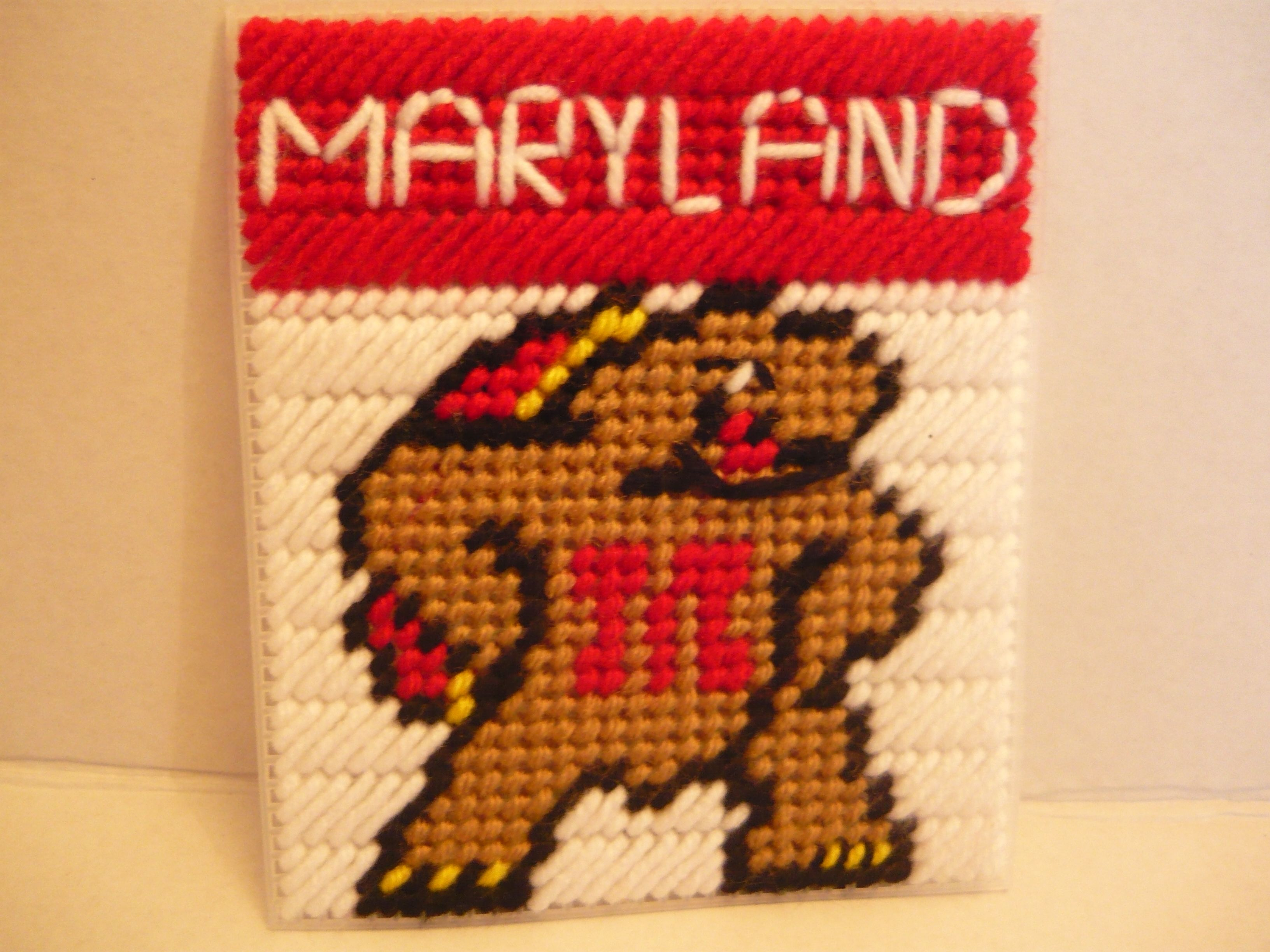 Maryland Plastic canvas patterns, College crafts, Canvas