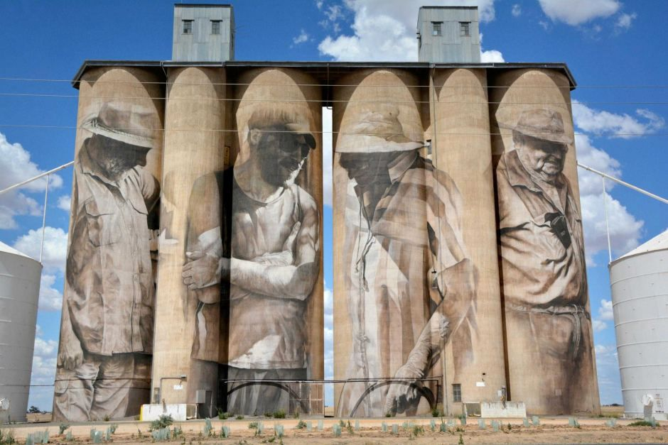 Murals by Brisbane artist Guido van Helten cover the side of defunct silos in the tiny town of Brim, with a population of about 100, in rural Victoria, January 2016.
