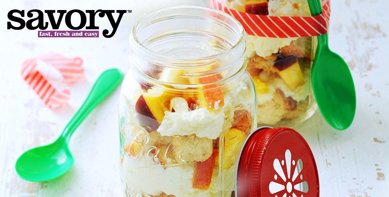 Photo of Mason Jar Peaches and Cream Trifles Recipe from Peapod
