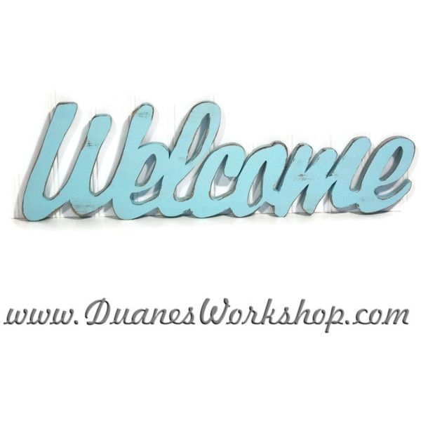 Wooden Welcome Sign Wall Hanging Turquoise Shabby Chic Beach Decor ...