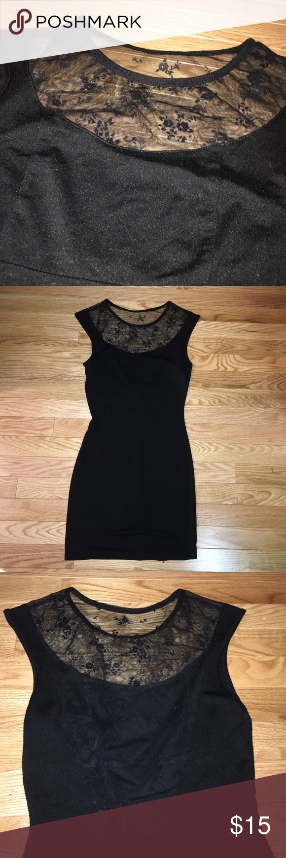 Low back little black dress Super pretty with the mesh low back and in the front , very formfitting Forever 21 Dresses Mini
