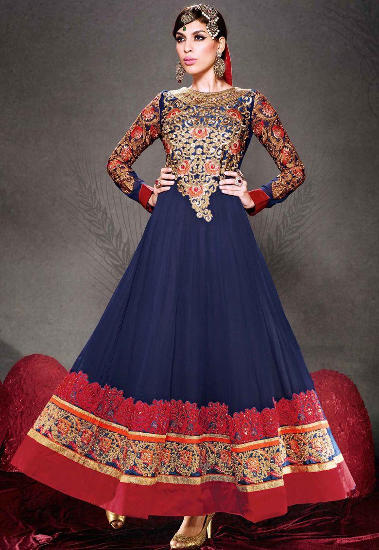 RAVISHING RED u BRIGHT BLUE Blue Georgette kameez designed with