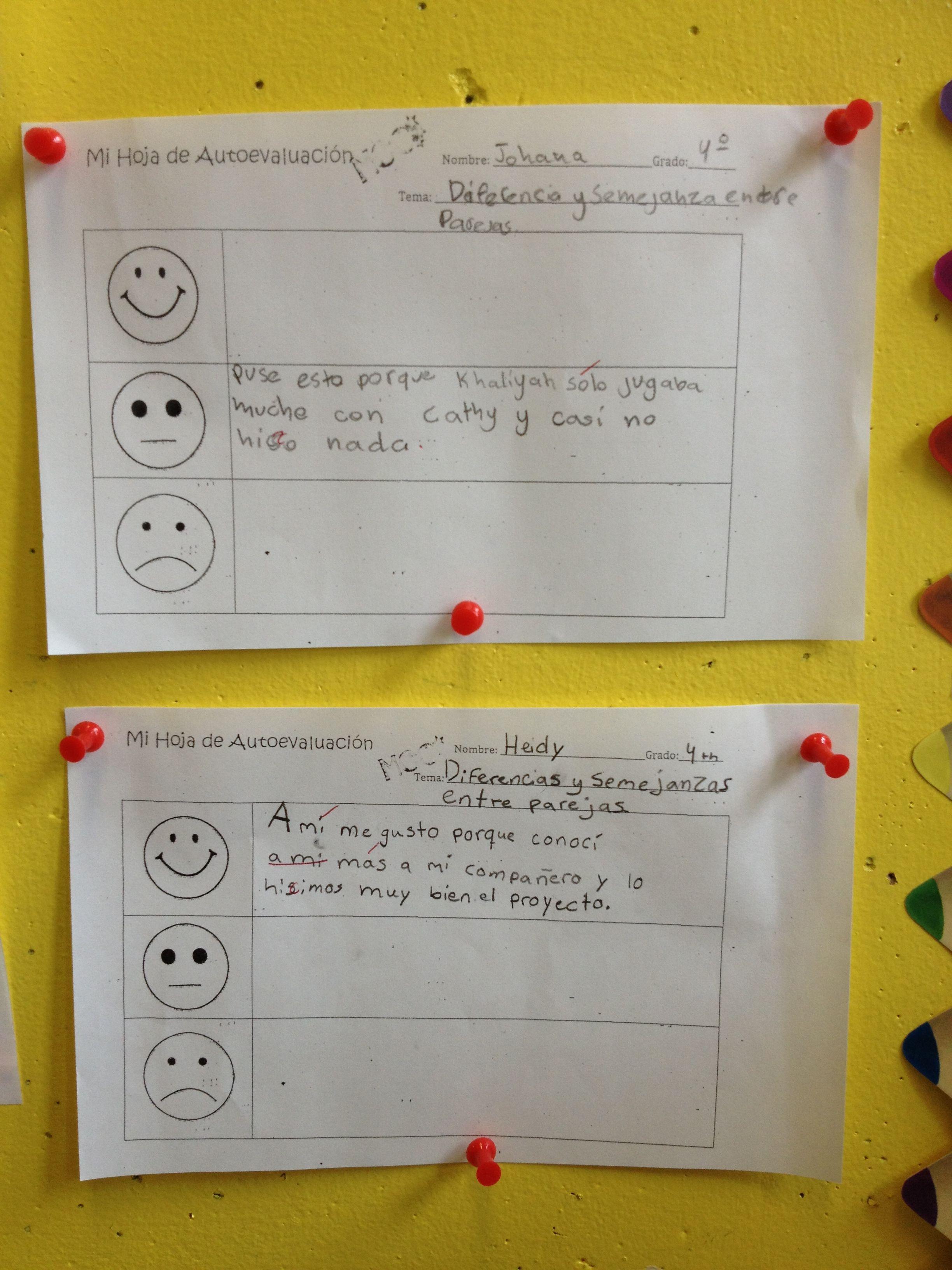 Student self assessment - 4th grade | Student self