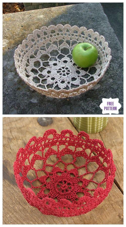 Crochet Lace Bowl Free Patterns #crochetbowl