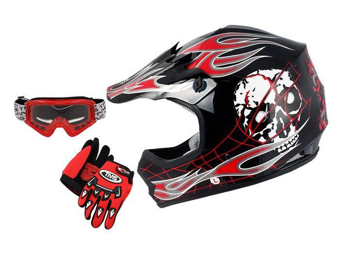 Tms Youth Red Skull Off Road Motocross Helmet Goggles Gloves Small Medium Large Motocross Helmets Motocross Helmet