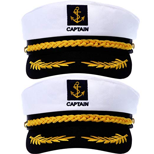Amazon Com Satinior 2 Pieces Navy Marine Admiral Style Hat Adjustable Ship Sailor Cap Yacht Boat Captain Hat For Men Wo Sailor Cap Hat Fashion Captain Costume