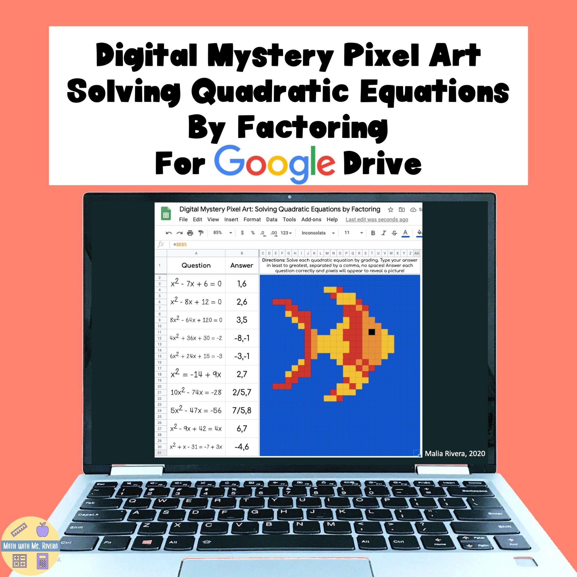 Solving Quadratics By Factoring Digital Pixel Art Solving Quadratic Equations Solving Quadratics Quadratics [ 2000 x 2000 Pixel ]
