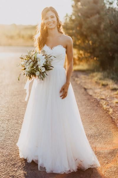 Sweetheart Floor-Length Ivory Wedding Dress with Lace WD059 ...