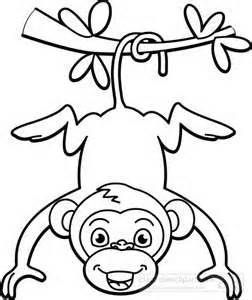 monkey-hanging-from-tree-black-white-outline : Classroom
