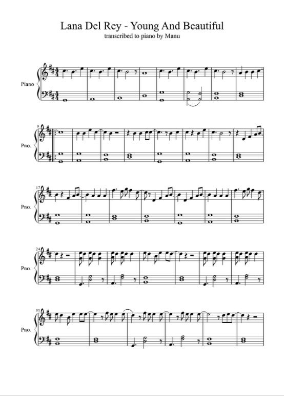 Young And Beautiful Piano Notes Page 1 Piano Songs Sheet Music