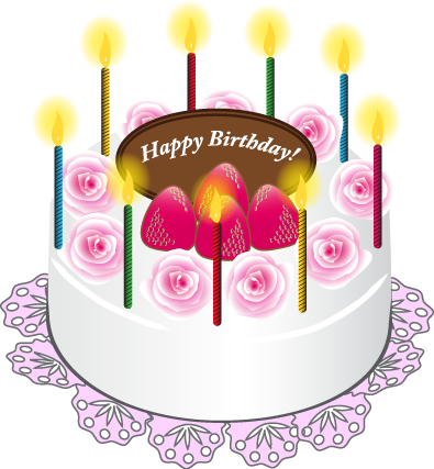 Cake with Candles Happy Birthday Art PNG Picture Feliz