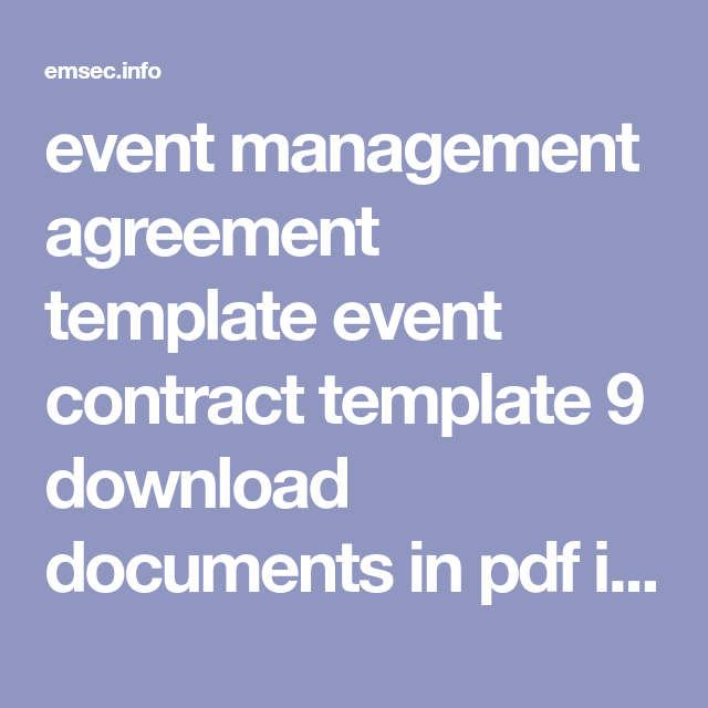 event management agreement template event contract template 9 ...