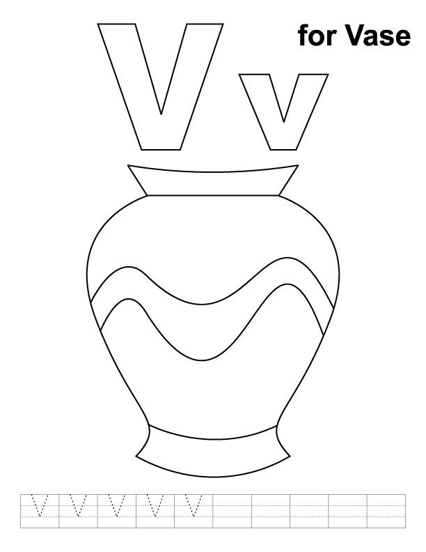 V for vase coloring page with handwriting practice | Free printable ...