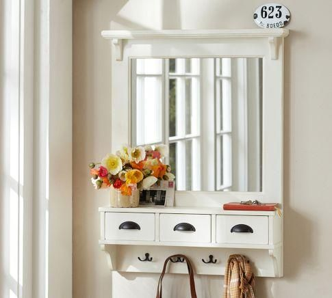 Wall Mirror With Hooks mirrors - wall-mount entryway organizer mirror - white | pottery