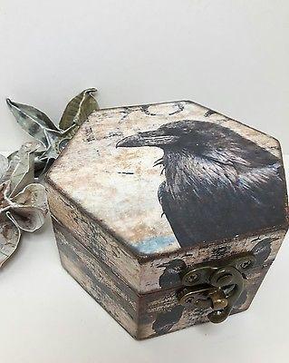 Raven Box Decorative Box Wooden Box Trinket Box Gothic Gift Handmade