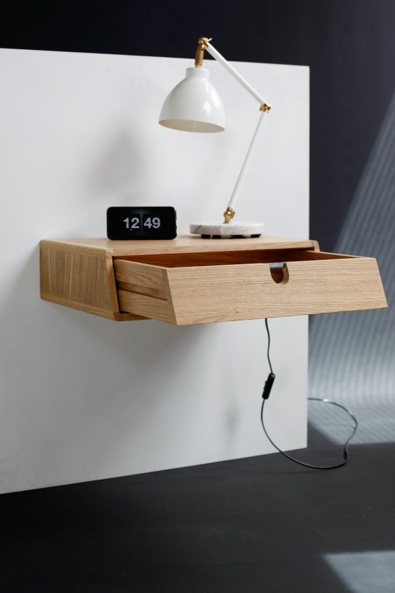floating nightstand with 1 drawer in oak scandinavian design schwimmen skandinavisch und. Black Bedroom Furniture Sets. Home Design Ideas