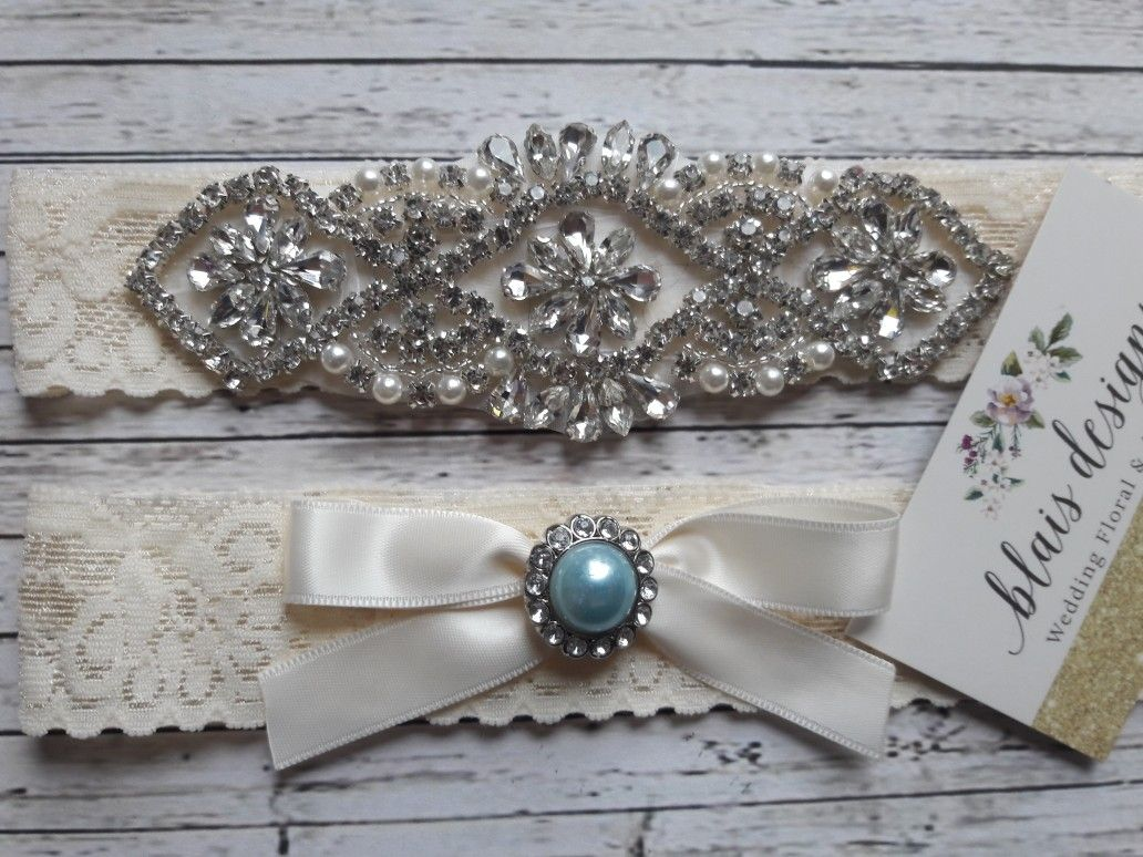 Burlap wedding dress sash  Bridal rhinestone garter set Something Blue designu  Custom made