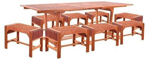 Vifah English Garden 9pc Rectangle Wood Patio Dining Set - Brown