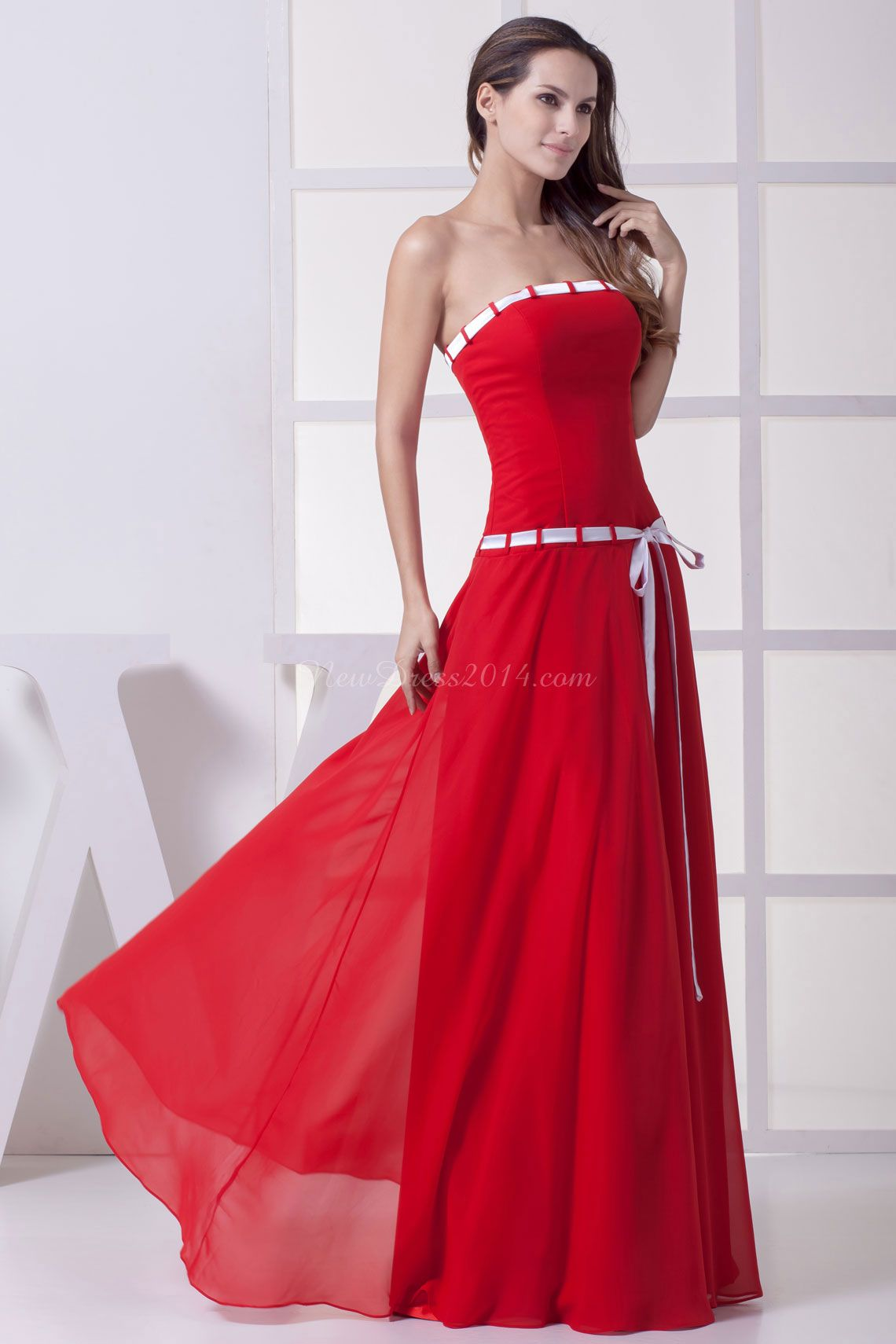 Strapless ribbon long natural waist aline bridesmaid dress