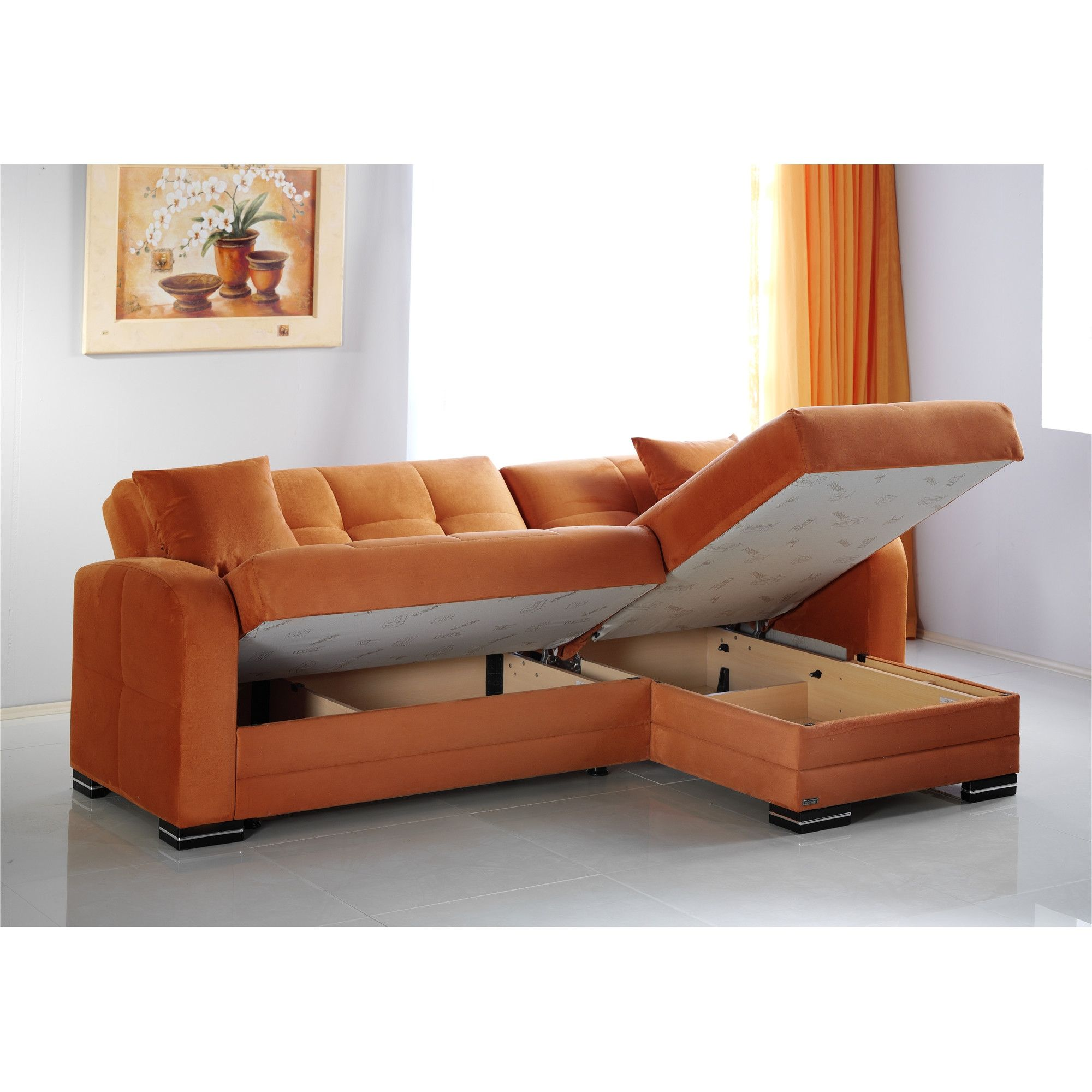 Corner Lounge Suite With Chaise And Pull Out Sofa Bed