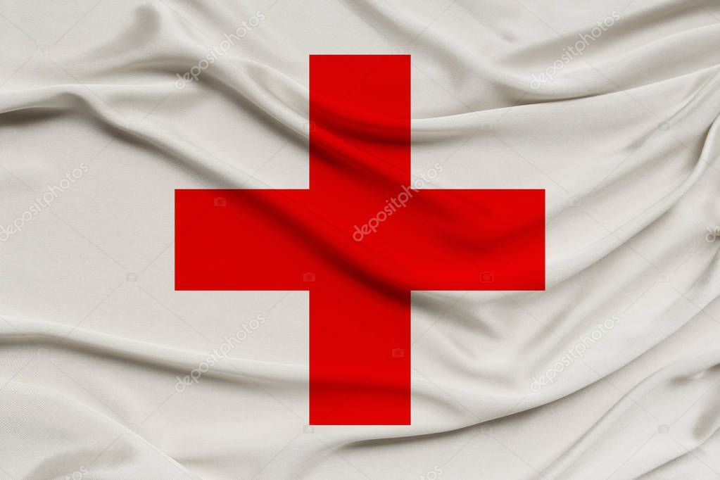 Silk Flag Of Organization Red Cross Crescent Close Up Copy Space Sto Ad Red Cross Organiza Graphic Design Pattern Red Cross Modern Graphic Design