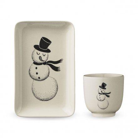 Bloomingville Piattino e tazza Christmas Snowman Natale  Tavola