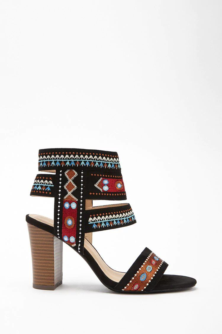 61271e3cd75f Product Name Faux Suede Tribal-Inspired Heels