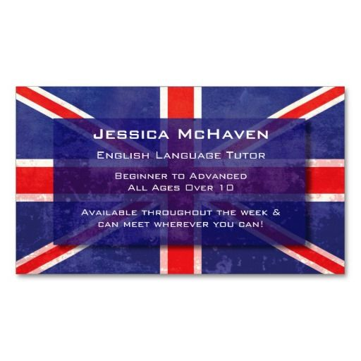 make a terrific first impression with this english language tutor business card customise this design as your own just in minutes