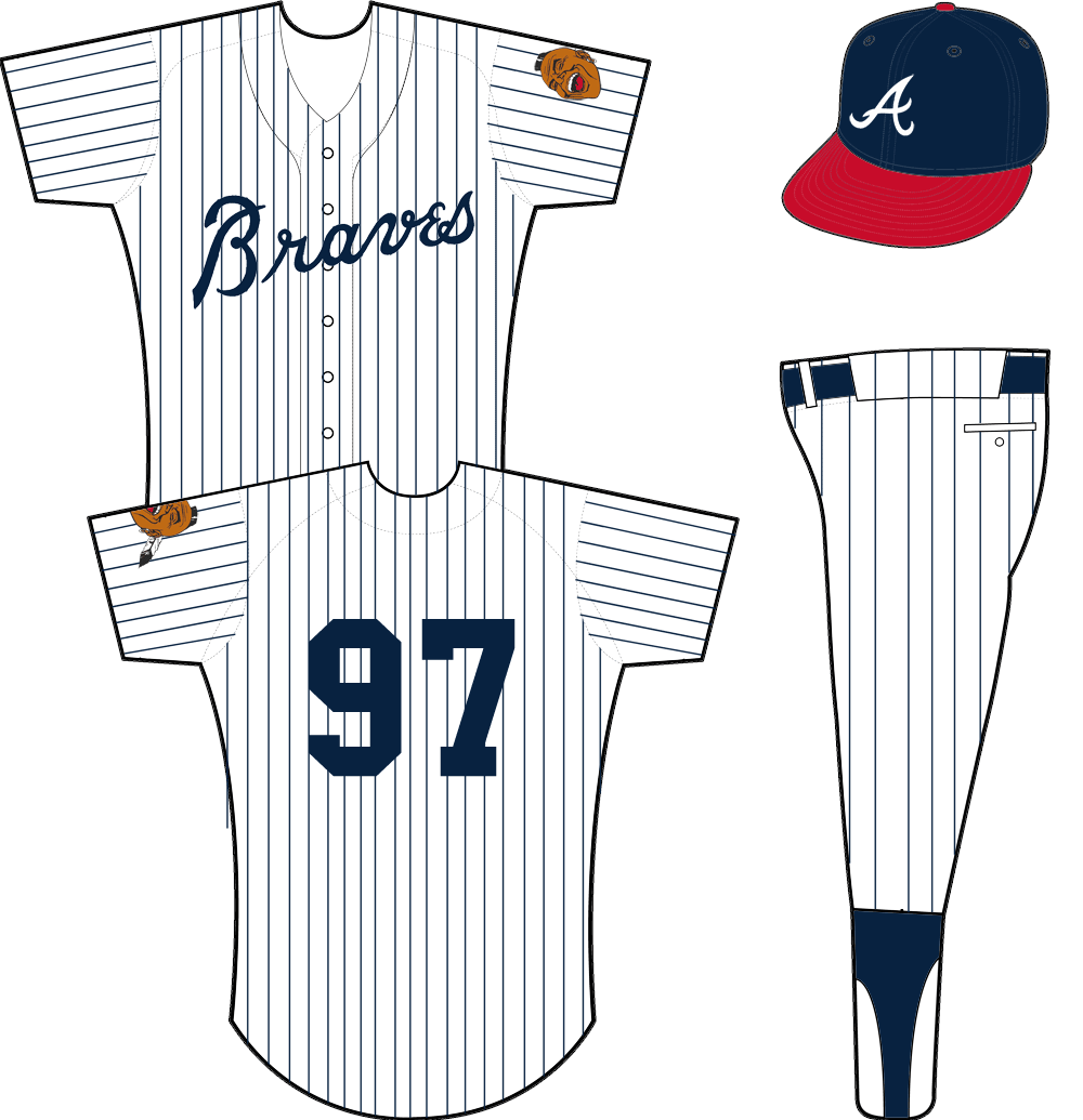 Atlanta Braves Home Uniform 1968 White Uniform With Blue Pinstripes Braves Across The Front In Blue Worn Wi Atlanta Braves Chicago White Sox White Jersey
