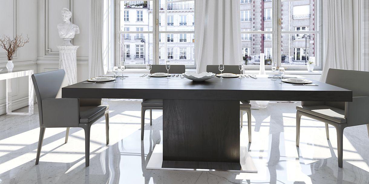 Palerma Extendable Dining Table Black Oak In 2020 Dining Table Dining Table In Kitchen Stylish Dining Room