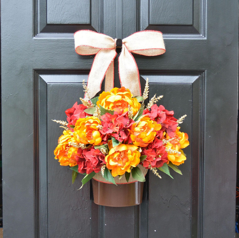 Fall Peony Hydrangea Door Bucket, Fall Wreath Alternative