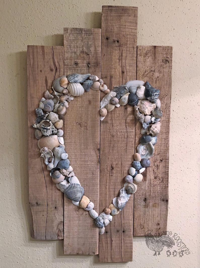 Shell Heart Sign- Beach Sign- Shell Art- Beach Wedding Sign- Anniversary Gift- Beach House- Wedding Guest Book