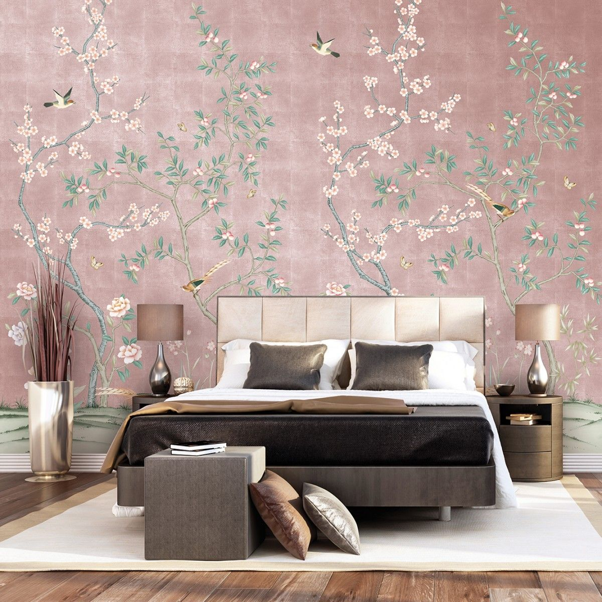 Chinoiserie Garden Metallic Rose Gold Tempaper Designs