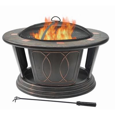 Hampton Bay 34 Inch Round Fire Pit Including Cooking Grill FTB