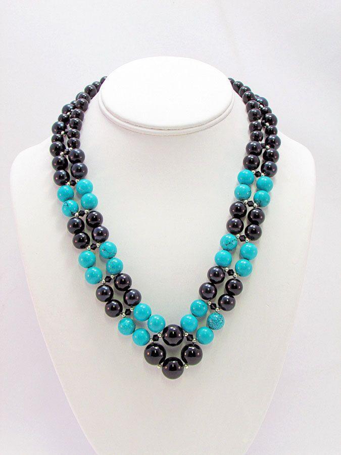 04612096d65e Turquesa y perla tejido collar T43