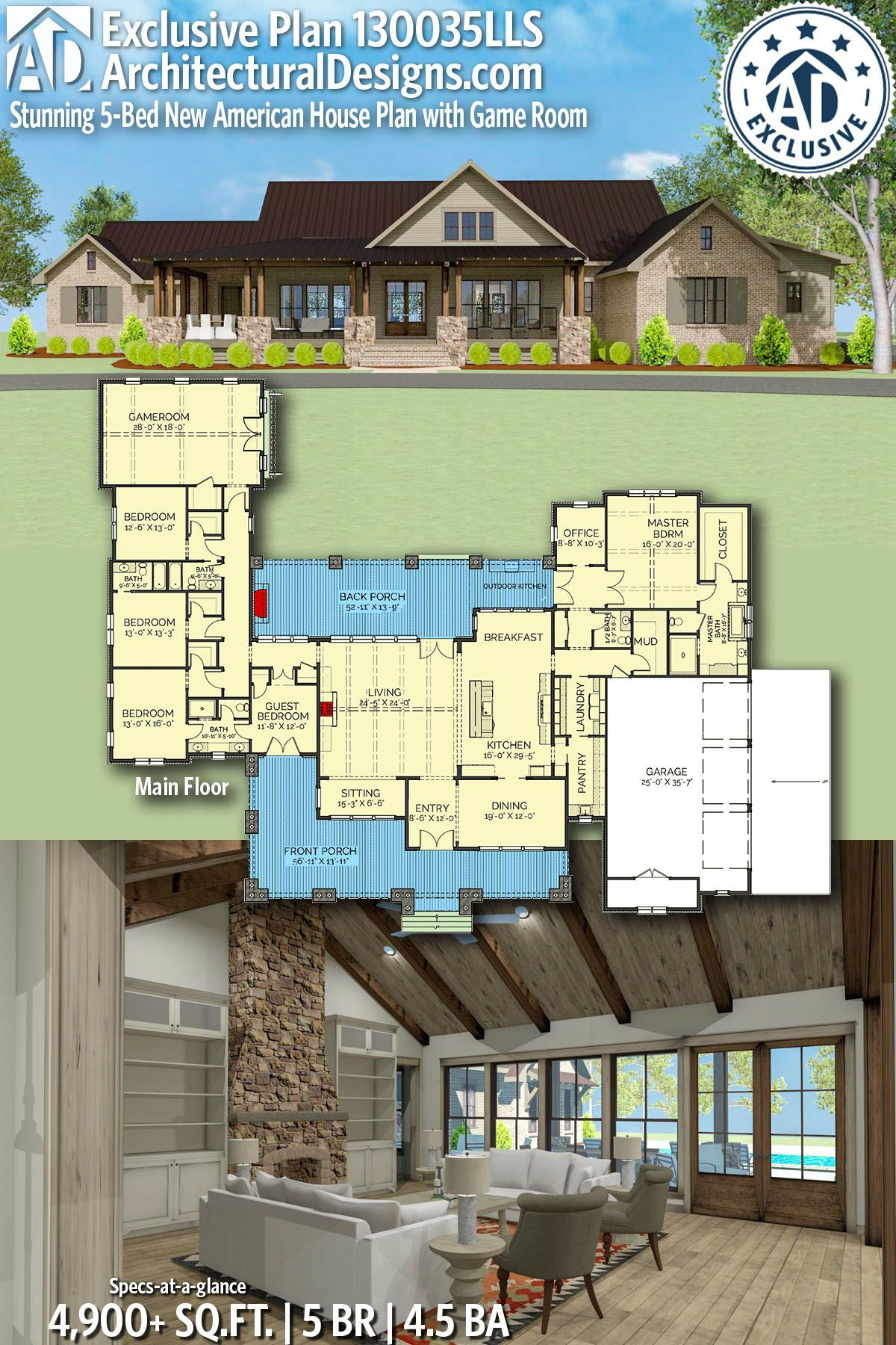 Plan 130035lls Stunning 5 Bed New American House Plan With Game Room House Plans American Houses Dream House Plans