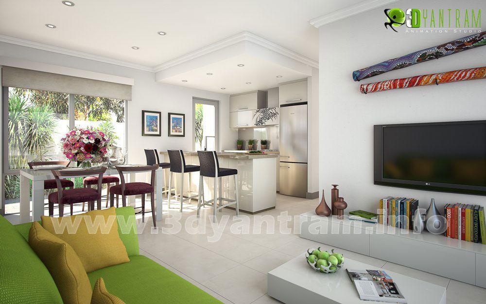Inicio moderno 3D interiores Cocina sala de estar Ideas diseño ...