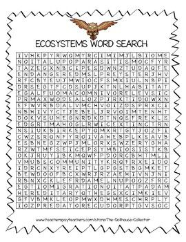 Science Vocabulary Word Search - ECOSYSTEMS | 3rd grade science ...