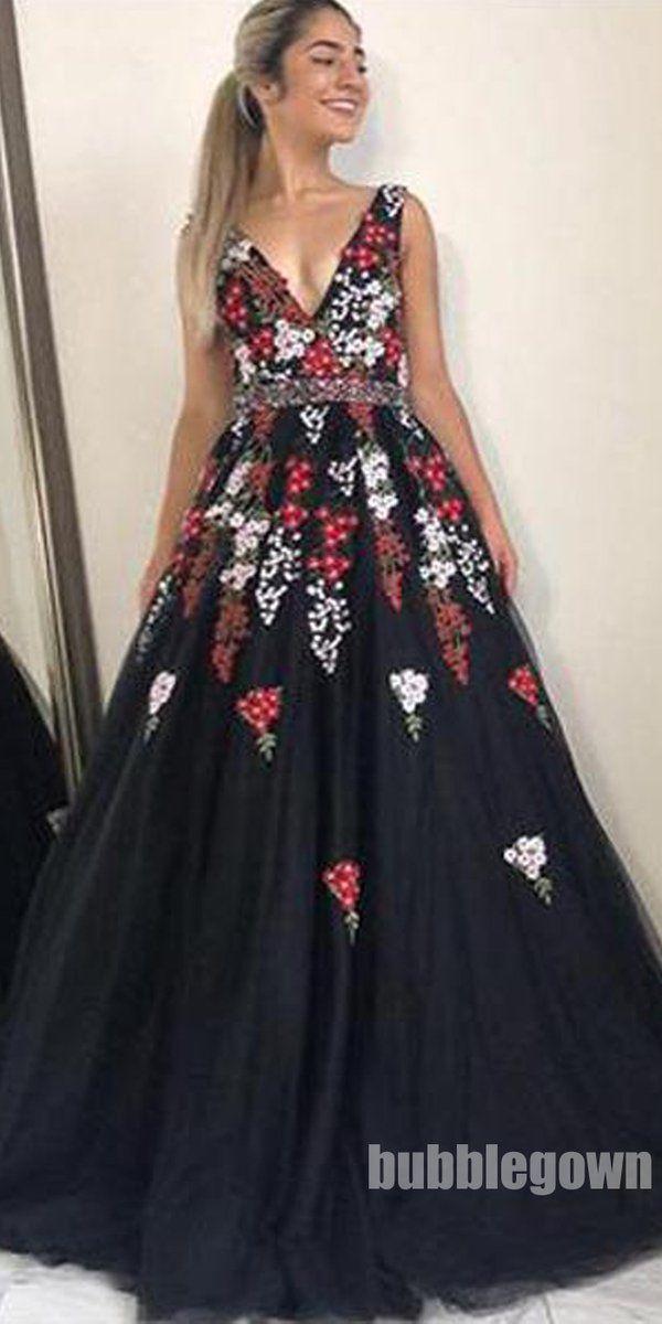 5ab2b5609d0 Unique Affordable V Neck Formal A Line Elegant Long Prom Dresses ...