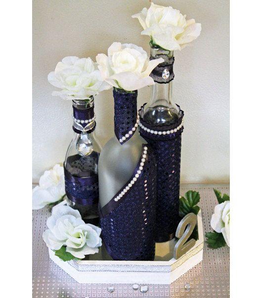 Set 3 Decorated Wine Bottle Centerpiece Lapis Sparkle Deep