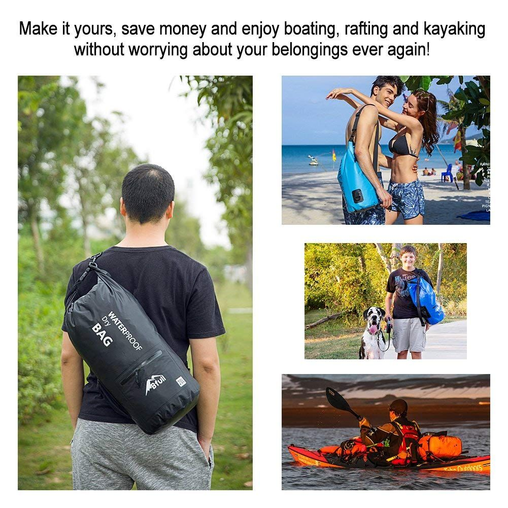 Amazon.com   BFULL Waterproof Dry Bag 10L 20L  Lightweight Compact  Roll  Top Water Proof Backpack with 2 Exterior Zip Pocket for Kayaking 81dfb3e066ba9