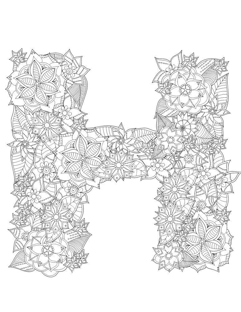 h en fleurs lettre typographie a dessiner pour adulte - Dessin Pour Adultes