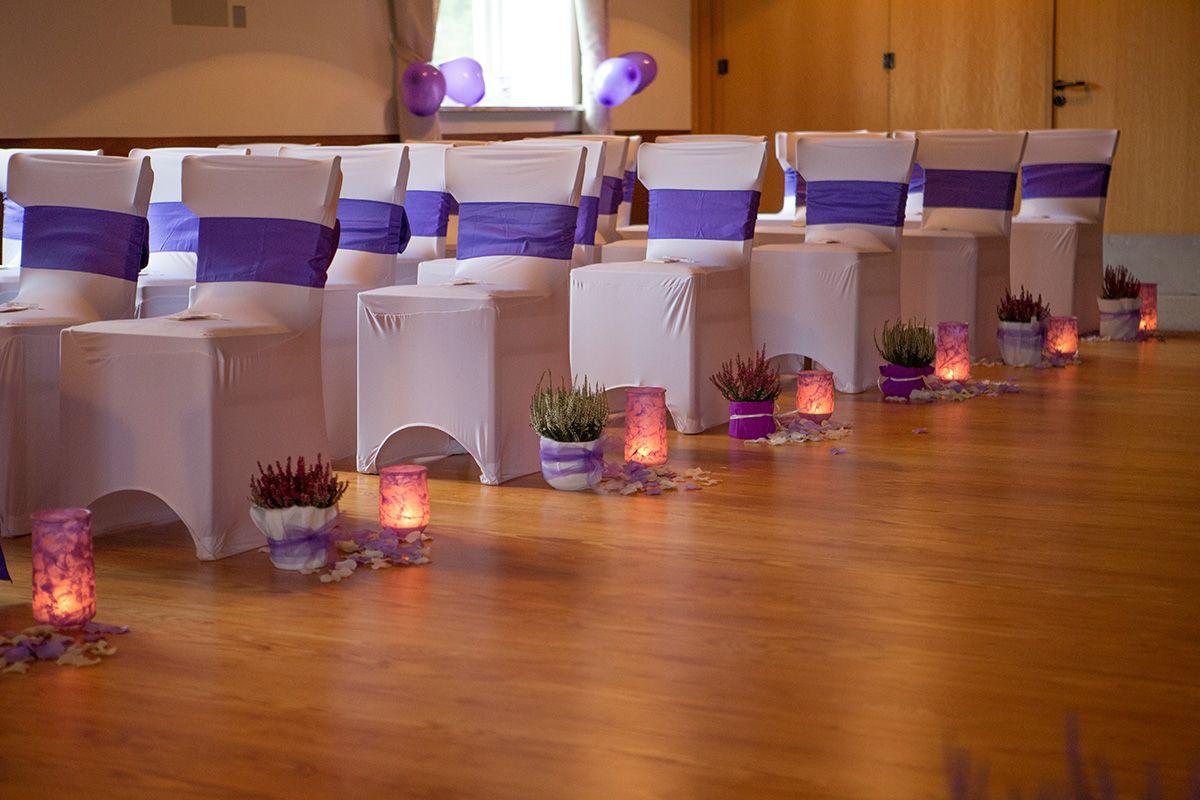 Saaldeko, Tischdekoration, Tischdeko, Hochzeitsdekoration, Hochzeitsdeko, Blumenvase,  DIY Hochzeit, Stuhlhussen, Buchsbaumherzen