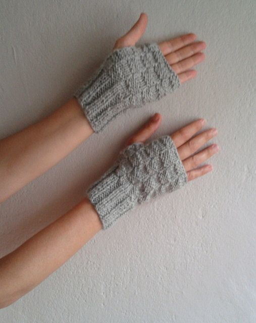 Fingerless Gloves, Gray Gloves, Knit Arm Warmers, Wrist Warmers ...