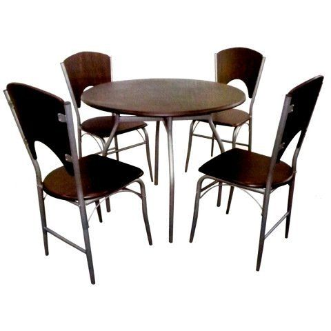 Walnut 5 Piece Round Dining Table And Chairs Set Chrome Finish By HOME ACCESSORIES