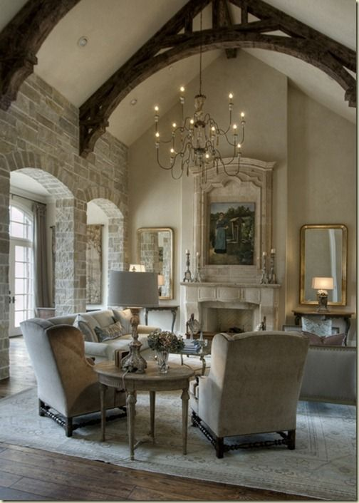 Gorgeous space; love the beams and stone!