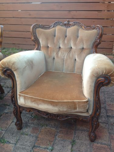 Antique Lounge Chair French Italian Provincial Carved Vintage Armchair Sofa  #3